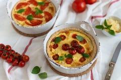 Quiche faite maison avec les tomates, le poulet, les feuilles de basilic et le fromage Fin vers le haut images libres de droits