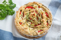 Quiche with feta and red bell pepper Stock Images