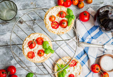 Quiche with goat cheese and cherry tomatoes, vegetarian food Stock Photo