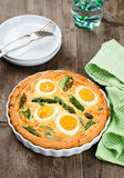 Quiche with green asparagus Stock Photo