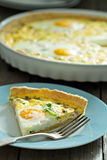 Quiche with ham and eggs Royalty Free Stock Images
