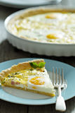 Quiche with ham and eggs. Quiche with ham, green onion and whole eggs Royalty Free Stock Image
