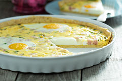 Quiche with ham and eggs Royalty Free Stock Photo