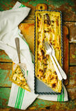 Quiche with leek and a salmon. Stock Image