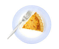 Quiche Lorraine On Blue Plate With Fork Royalty Free Stock Photography