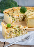 Quiche lorraine. With chicken, mushrooms and broccoli Stock Photo