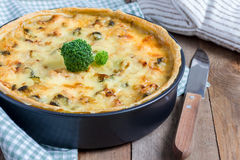 Quiche lorraine with chicken Stock Image
