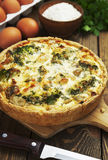 Quiche Lorraine with chicken, mushrooms and broccoli Stock Photos