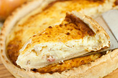 Quiche Lorraine on the cutting board Stock Photography