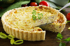 Quiche lorraine. French cake with leek Stock Image
