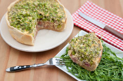 Quiche Lorraine with peas Stock Images