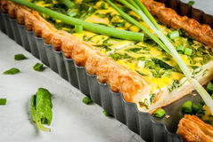 Quiche lorraine with spinach and green onion Royalty Free Stock Photos