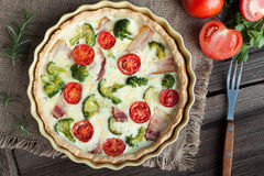 Quiche lorraine traditional french homemade tart Royalty Free Stock Photos