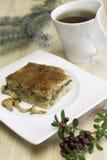 Quiche mit Pfifferlingspilzen, Parmesankäseparmesankäse Lizenzfreies Stockfoto