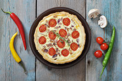 Quiche pie with chicken and cherry tomato Stock Images