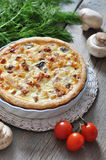 Quiche pie with chicken and mushroom Royalty Free Stock Photo