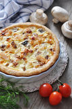 Quiche pie with chicken and mushroom Royalty Free Stock Photos