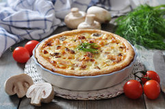 Quiche pie with chicken and mushroom Royalty Free Stock Image
