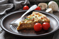 Quiche pie with chicken and mushrooms Royalty Free Stock Images