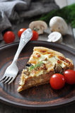 Quiche pie with chicken Royalty Free Stock Photos