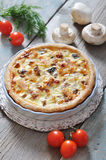Quiche pie with chicken Stock Photo