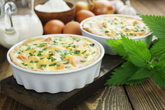 Quiche pie with fish and nettles Royalty Free Stock Image