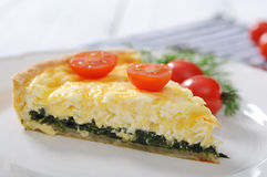 Quiche pie with spinach and cheese Royalty Free Stock Photography