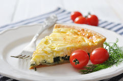 Quiche pie with spinach Royalty Free Stock Images