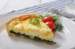 Quiche pie with spinach Stock Photos