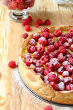 Quiche with raspberries and cream Royalty Free Stock Images