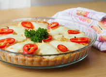 Quiche with red pepper and parsley Royalty Free Stock Images