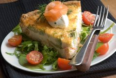 Quiche with salad Stock Photo