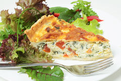 Quiche with salad horizontal Stock Photography