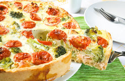 Quiche with salmon Stock Image