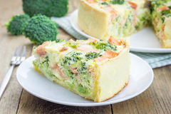 Quiche with salmon, cheese, broccoli Royalty Free Stock Photography