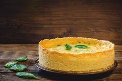 Quiche with salmon and spinach Royalty Free Stock Photography