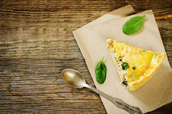 Quiche with salmon and spinach Royalty Free Stock Photos