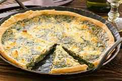 Quiche with spinach Stock Images