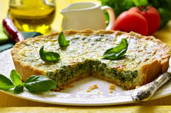 Quiche with spinach. Royalty Free Stock Images