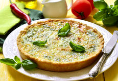 Quiche with spinach. Royalty Free Stock Photo