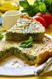Quiche with spinach. Stock Images