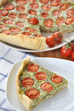 Quiche with tomato and spinach Royalty Free Stock Photography