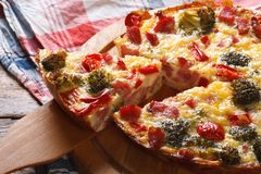 Quiche with vegetables and bacon close up horizontal Royalty Free Stock Photography