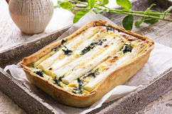 Quiche with White Asparagus Royalty Free Stock Photos