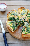 Quiche With Salmon And Spinach Stock Images