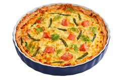 Quiche With Salmon Isolated On White Background Stock Photo