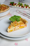 Quiche with zucchini and tomato baked cheese Royalty Free Stock Photo