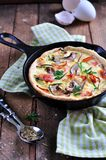 Quiches with bacon, zucchini and mushrooms Royalty Free Stock Photos