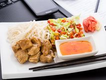 Quick asian style lunch in office Royalty Free Stock Photos