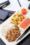Quick asian style lunch in office Stock Photography